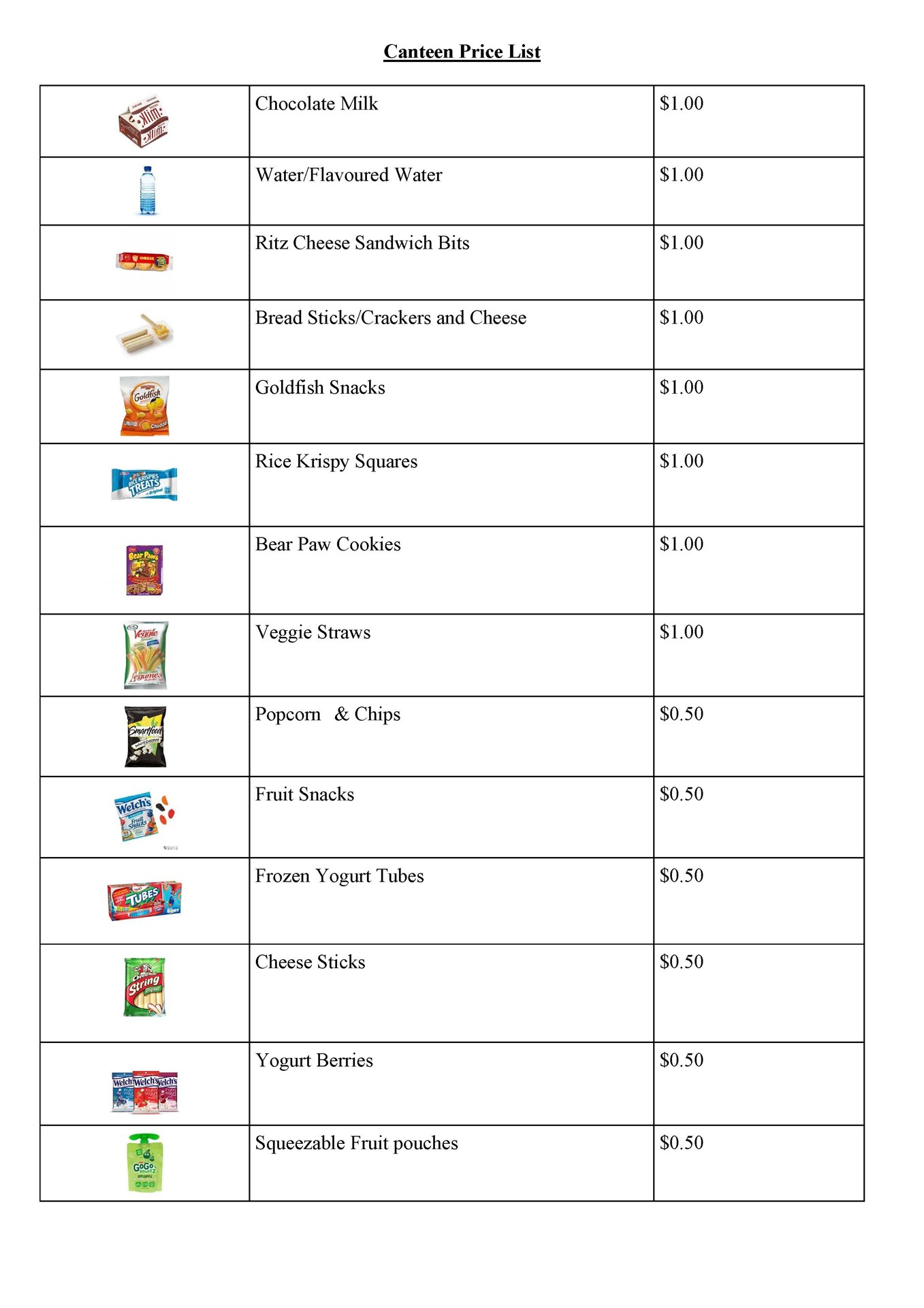 2019 - 2020  Canteen Prices