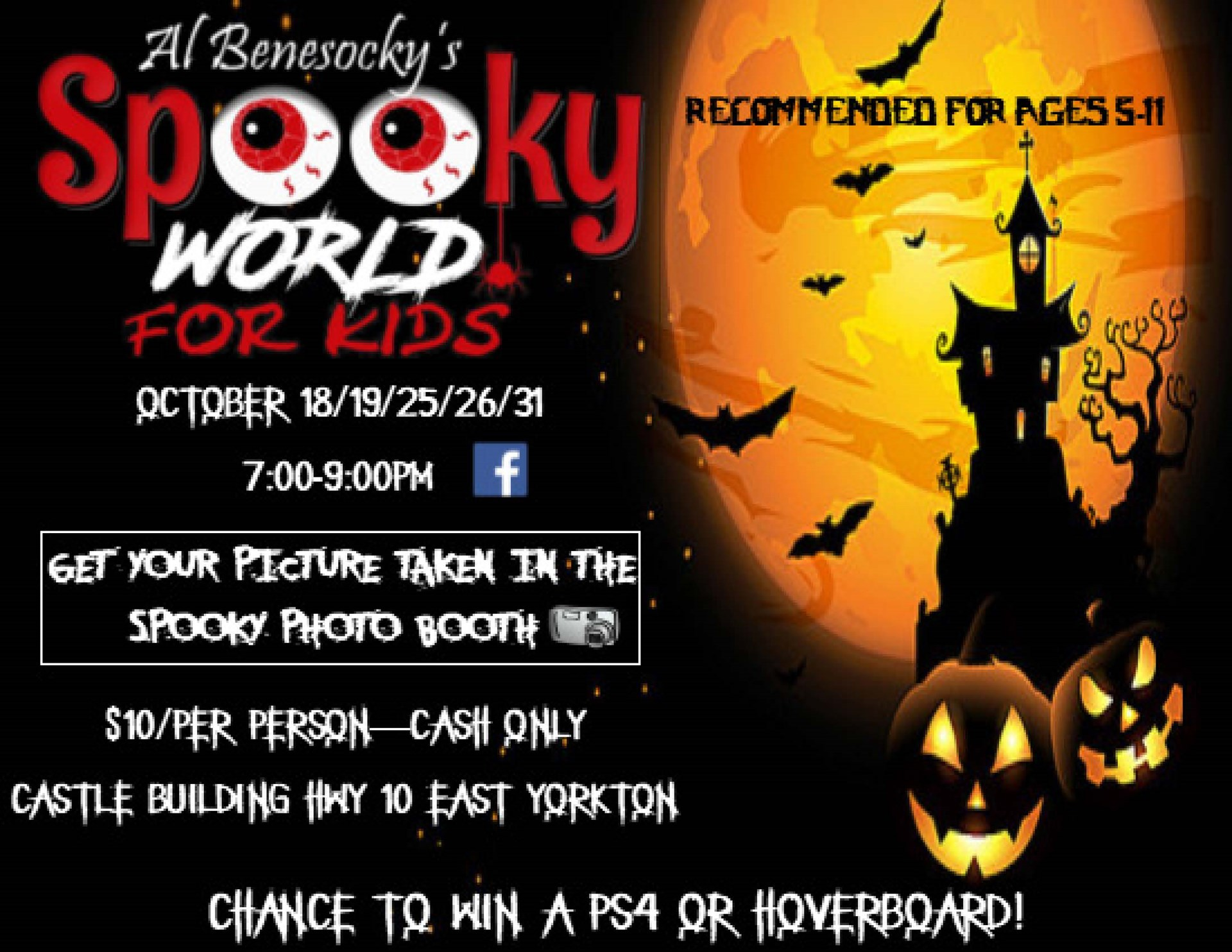 Spooky World For Kids October 18, 19, 25, 26 & 31 from 7 - 9 pm
