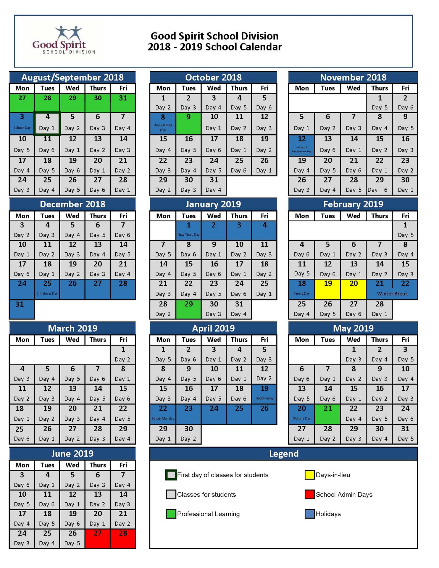 School Year Calendar Good Spirit School Division 204