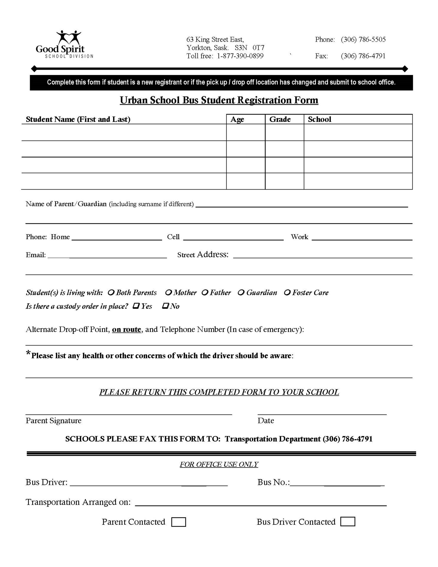 Urban Bus Registration Form